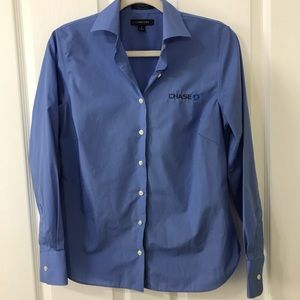 Chase Bank Blue Lands' End Long Sleeve Blouse Sz 4